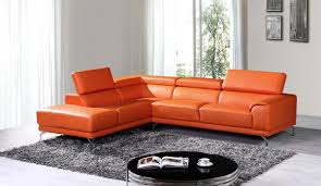 casa wisteria modern orange leather sectional sofa w left facing intended for sofas orange sectional sofa d80