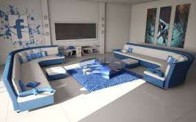 living room amazing blue facebook theme living room design with curved sofa and round glass coffee table on blue fur area rug cool blue living room design