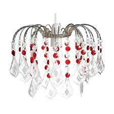 red clear acrylic crystal 3 tier pear drop chandelier lampshade ceiling light