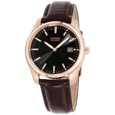citizen men s au1043 00e eco drive stainless steel watch with brown leather band