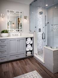Master Bath Design Ideas transitional master corner shower photo in san diego with gray cabinets a freestanding tub