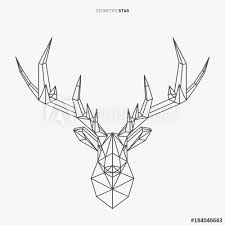 Vector Geometric Deer Line Art Low Poly Style Animal Drawing Stag