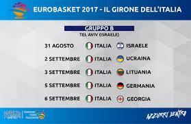 Basket, Europei 2017: Italia sorteggiata nel Girone B con l'Ucraina - CCIPU  Camera di Commercio Italiana Per l'Ucraina
