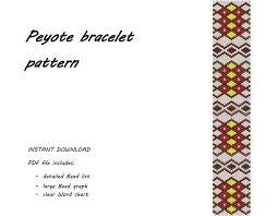 Peyote Bracelet Pattern Ethnic Bracelet Geometry Print Odd Count Peyote Stitch Beaded Bracelet Seed Bead Jewelry Beadwork Pattern