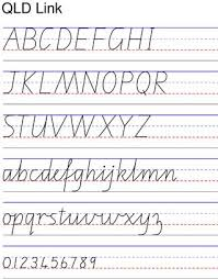 Queensland Cursive Alphabet Chart Sheet For Developing And Tracing Qld Standard Cursive