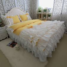 yellow and white color bows bedding sets cotton luxury princess cake ruffles duvet cover wedding home best gift bedding kit