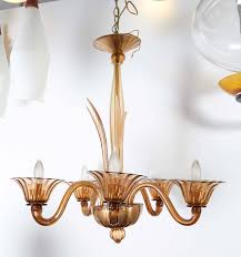 mid century modern murano glass amber chandelier