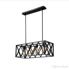 vintage industrial 6 lights edison retro rustic wrought iron black chandelier rectangle island light fixtures for kitchen bar living room pendant lighting