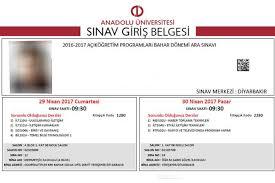 Açık Öğretim Sınav Giriş Belgesi Çıktısı http://aolweb.aol ...
