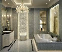 small bathroom chandelier crystal ideas: luxurious bathroom chandelier decorating ideas with lavish sleek vanity glamorous crystal chandelier coombined with grey
