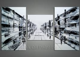 hand painted modern abstract 3 piece black white figures walking picture oil paintings on canvas wall
