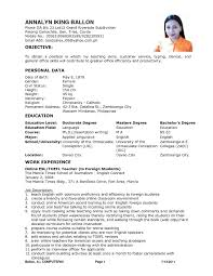 Sample Resume For Filipino Teachers Resume Ixiplay Free Resume