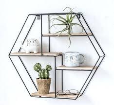 hexagonal wall shelf rustic white hexagon rack