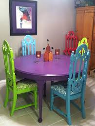 bright painted furniture. found the gothic church chairs and table at a garage sales 30 u003d 6 bright painted furniture