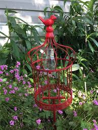 bird cage garden stake w solar light