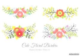 Floral Borders For Word Card Template With Peach And Golden Flowers Leaves Flower