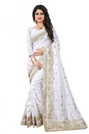 sudarshan family zoya art silk embroidery work saree with blouse piece saree lde1103