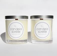 two pack of natural soy candles medium size with wood wicks candela sorelle