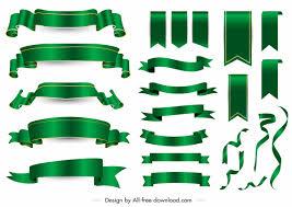 Decorative Ribbon Templates Shiny Modern Green Blank 3d Free