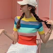 <b>Rainbow Striped Crop</b> Top T-Shirt Women's <b>Pullover</b> Round Neck ...