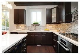 dark kitchen cabinets with backsplash