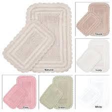 reversible bath mat 2 piece reversible cotton bath mat set with crochet lace wamsutta reversible contour bath rug