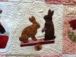 quiltmekiwi: *Rabbits *Prefer * Chocolate* & Quilting over cotton batting, using a mix of Gunold, Madeira poly neon &  glide threads. Some echoing, swirls, pebbles & even some hearts & flowers. Adamdwight.com