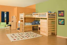 wooden triple trundle bunk bed with study desk chair set for kids bedroom furniture set boys bedroom furniture desk