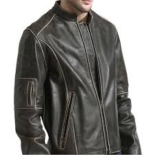 collar brown leather moto jacket zoom men s