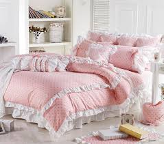 cute korean pink polka dot comforter sets romantic white lace girls princess duvet cover set designer fairy bedding sets in bedding sets from home garden