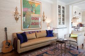 ... Tan & cream grasscloth in living gives you a cool backdrop [Design:  Amanda Austin