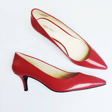nine west red leather kitten heel pumps m 578c0f2cc6c795b03100ff69