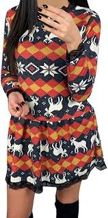 Moonuy Dress Fashion Merry <b>Christmas Snowflake Elk Print</b> Xmas ...