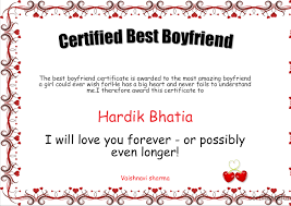 Certified Best Boyfriend Certificate Created With Certificatefun Com