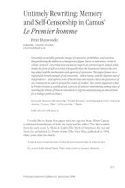 Pdf Untimely Rewriting Memory And Self Censorship In Camus Le