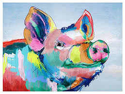 barney colorful pig canvas wall art 40x30  on pig canvas wall art with barney colorful pig canvas wall art 40x30 contemporary prints