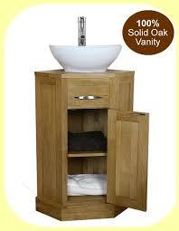 oak corner bathroom vanity unit small cloakroom sink