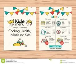 Kids Meal Menu Vector Template Restaurant Menu Design Stock