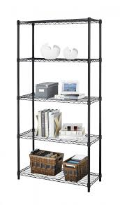 chrome black 5 shelf steel wire tier layer shelving 72 x36 x14