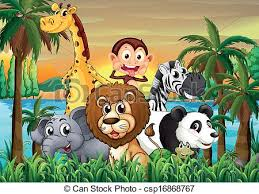 group of animals clipart. Contemporary Animals A Group Of Animals At The Riverbank With Coconut Trees  Csp16868767 Intended Group Of Animals Clipart