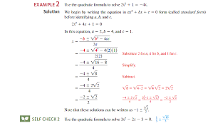 solve each equation using the quadratic formula see example 2 objective 1