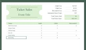 Ticket Sales Spreadsheet Template Ticket Sales Tracker Ms Excel Template