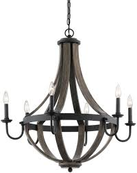 kichler merlot 30 in 6 light distressed black and wood barn candle chandelier