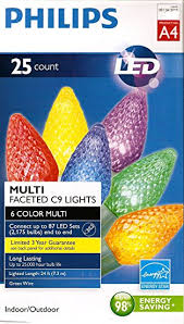 amazon com philips 25 count c9 multi faceted indoor outdoor led philips 25 count c9 multi faceted indoor outdoor led christmas string lights a4