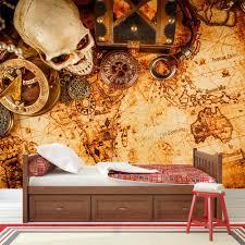 vintage treasure map wall mural pirate wallpaper boys bedroom photo home decor