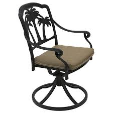 palm tree aluminum outdoor patio swivel rocker dining chair with seat cushion antique bronze