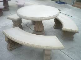 cement furniture. Cement Garden Table And Benches Amazing Outdoor Concrete Furniture Tan Colored Round Patio