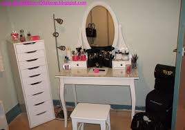 furniture charming glass top makeup table featuring oval shaped mirror and lovely white stool plus