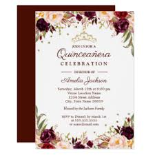Invitations Quinceanera Elegant Gold Burgundy Floral Quinceanera Invitation