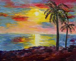 kerala sunset painting by artist kiran bableshwar oil canvas